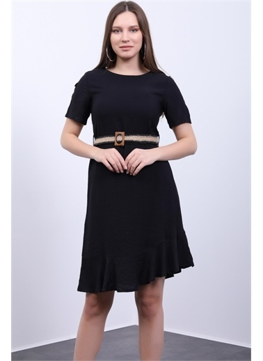 Deri Effect Kadın Sıfır Yaka- Yaka Ve Hasır Kemer Kombinli, Etek Altı Kısa Volanlı Elbise Siyah